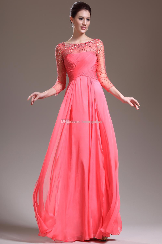 2015 abiti da sera vintage trasparenti bateau trasparente lungo 3/4 maniche lunghezza del pavimento di anguria-rosso donne abiti da spettacolo formale pageant bordare