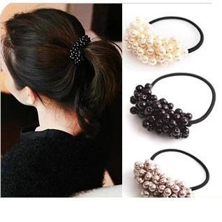 1 Piece Korean Pearl Towel Ring Candy Color Ring Hair Headdress Elastic Hair Bands Cute Hair Accessories Women Girls Headwear Rapid Heat Dissipation Women's Hair Accessories