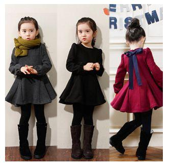 0f04ffef8 Rojo Gris Negro Vestido de niña Otoño Invierno Ropa para niños Volantes  Vestidos de niña de manga larga Algodón de terciopelo grueso Ropa de ...