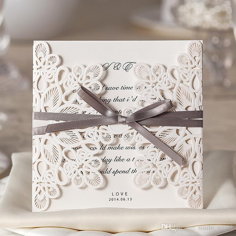 2018 New Invitation Cards White Hollow Lace Flora Wedding Favors ...
