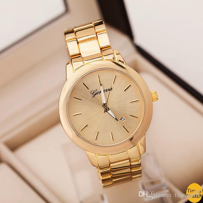 Genebra assistir homens vestido de luxo relógios de ouro de aço inoxidável relógio de quartzo presentes para homem à prova d 'água ao ar livre esportes relógio padrão qua