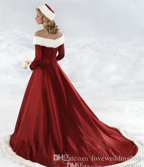 long sleeve Red Christmas dresses Hot New winter fall dresses A-line Wedding Dressesn Off-shoulder Satin Floor-Length Christmas Bridal Dress