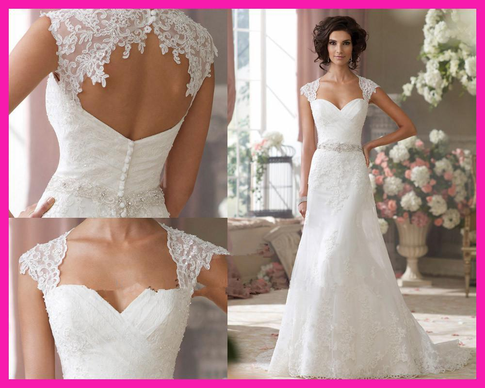 2015 Real Modest Sweetheart Lace Cap Sleeves Rhinestones