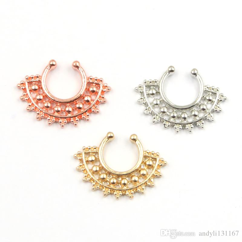 2015 new fake septum Clip Hoop faux piercing nose ring alloy silver and gold fake piercing hoop nose rings N0039