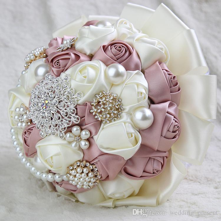 Broches de cristal de lujo nupcial ramo de la boda Rose perlas de encaje Diamante novia celebración de flores de la boda Ramos de broche de flor favores