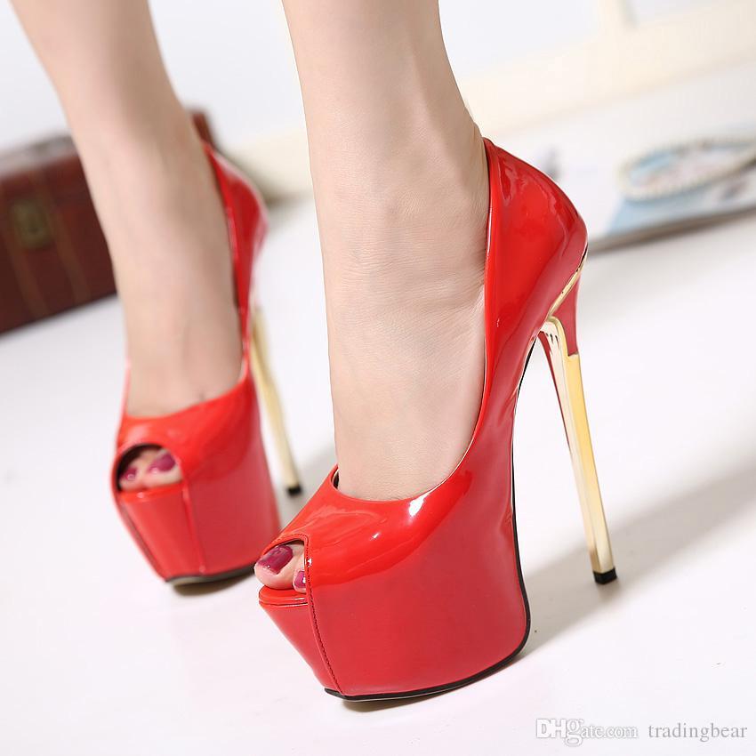 255c43c77cf Compre Las Mujeres De La Moda De Tacones Altos Zapatos De La Boda Roja  Plataforma Súper Tacones Ultra Altos Zapatos 2016 15.5 CM Tamaño 34 A 39 A   30.44 Del ...