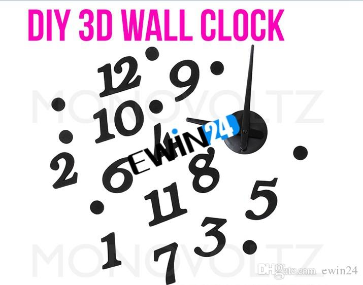 ديي مورديرن التصميم الداخلي لاصق ساعة الحائط غرفة نوم الديكور نوعية جيدة الساخن بيع يسهل حملها