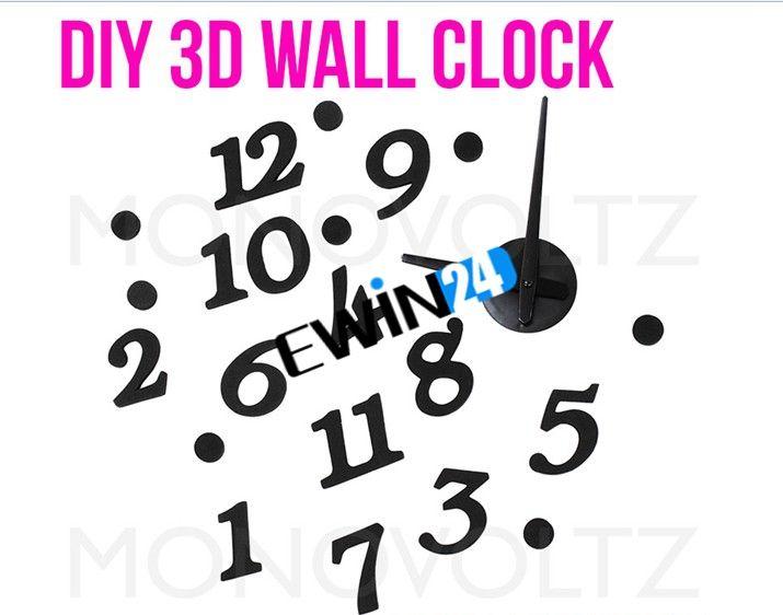 Diy Mordern diseño interior adhesivo reloj de pared decoración del dormitorio buena calidad venta caliente fácil de llevar
