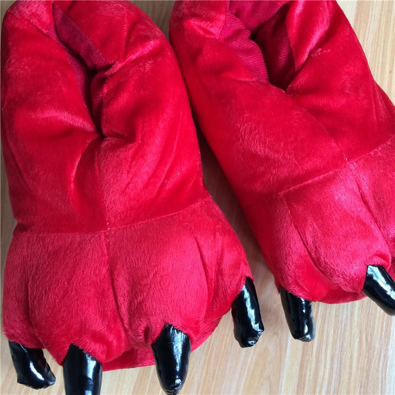 Men&Women Home Slippers Funny Children Slippers Indoor Fuzzy Winter Plush Slippers Female Animal Paw Flip Flops