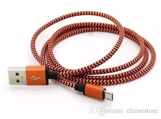 Tipo C USB 3.1 tessuto S8 Treccia in nylon Cavo micro USB Cavo ininterrotto Connettore del caricabatterie Cavo in metallo Samsung S7 6 5, HTC, Telefono Android