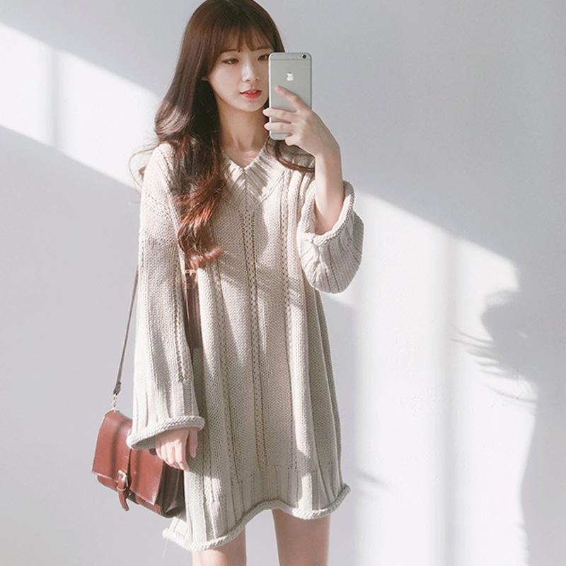 3cd94a5c6fdd3 Satın Al 2017 Yeni Kış Kazak Elbise Elbise Kore Chic Kalın V Yaka Uzun  Paragraf Kazak Kadın Büküm, $36.18   DHgate.Com'da