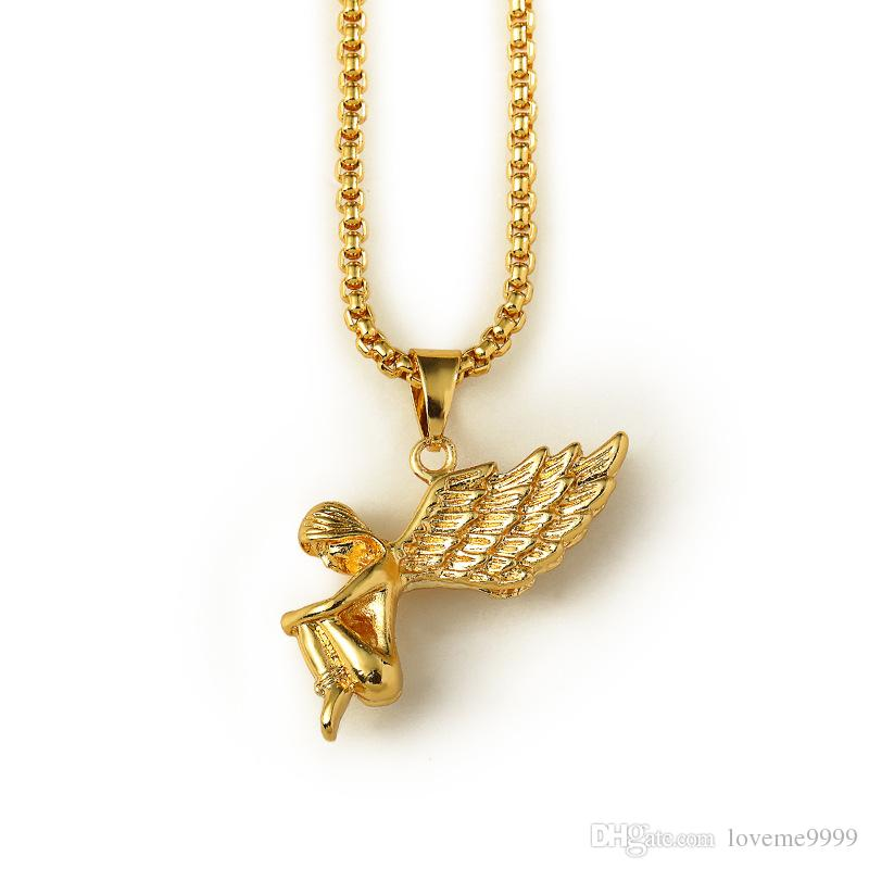 high quality 18K Real Gold Plated Men's hip hop Boy girl angel wing Tag Pendant Necklace 80cm Long mens hip hop Rock angel Necklace Jewelry