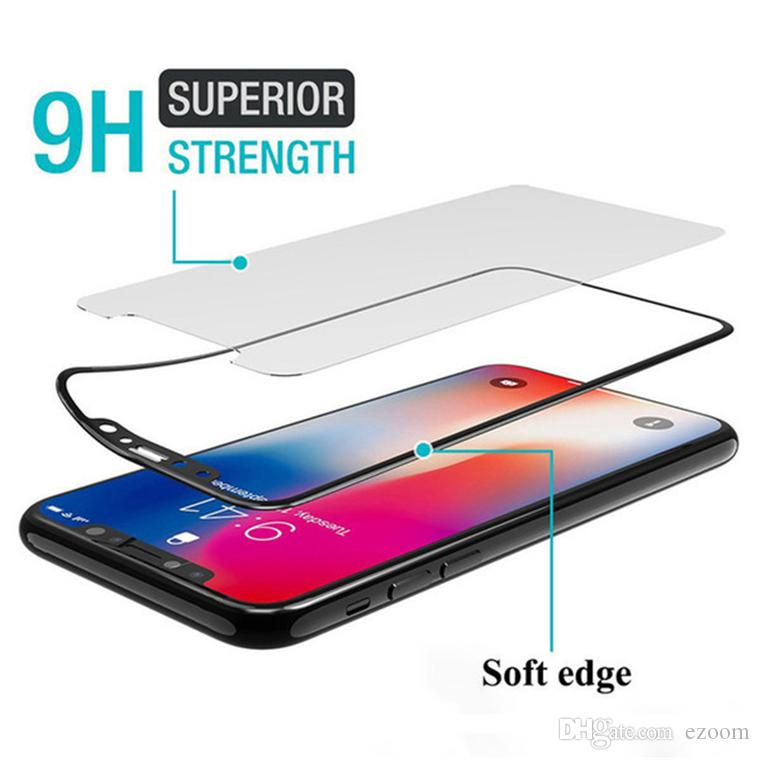 3D Soft Edge Carbon Fiber Full cover Tempered Glass Phone Screen Protector Film For iphone XS MAX XR X 8 8plus 7 6 6S Plus No package