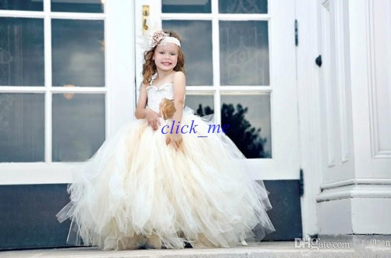 Princess Strapless Girl Pageant Dresses With Appliques Lace Bodice With Tulle Floor Length Lace Up Flower Girl Dresses With Hand Made Flower