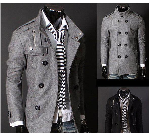 Discount Black/Grey Men'S Wool Coat Double Breasted Shoulder ...