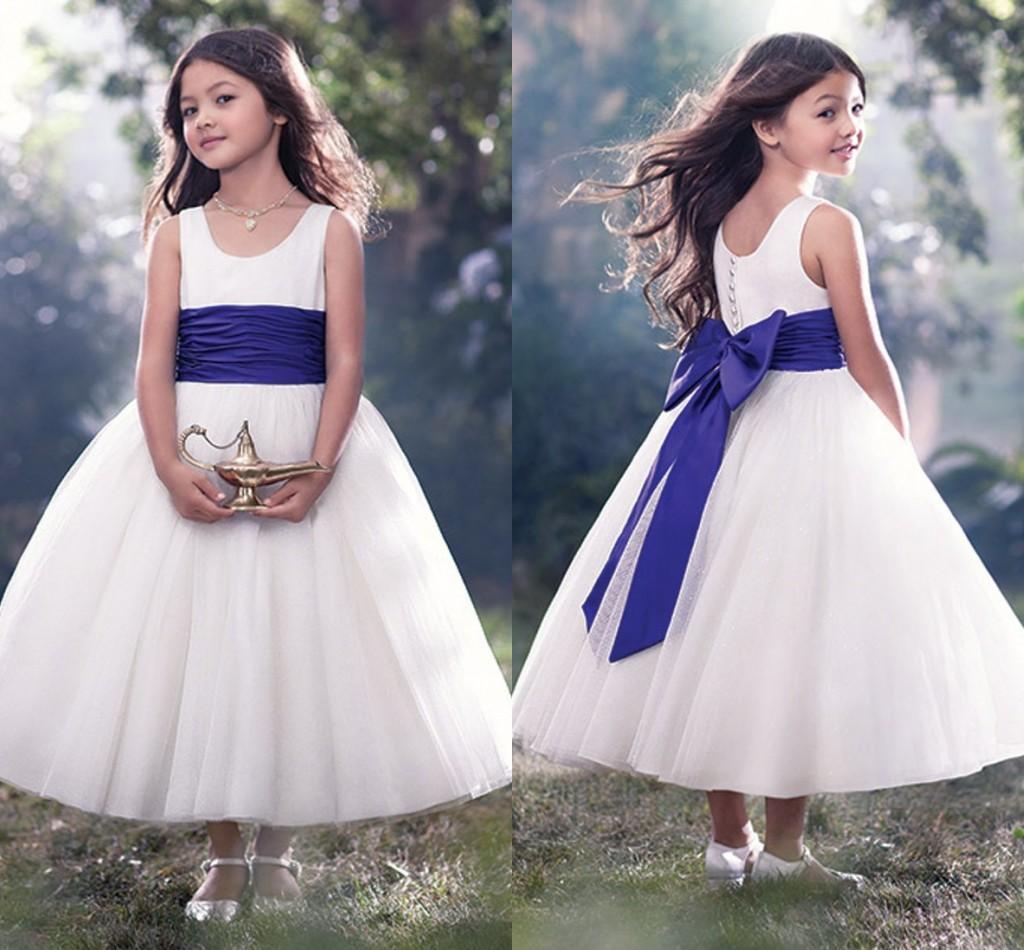 2017 Moda Beyaz Çiçek Kız Elbise Lüks Bir Çizgi Ekip Boyun Kaplı Fermuar Abiye Vintage Yay Düğüm Çay Boyu Tül Kız Pageant Elbise