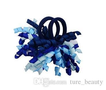 "christmas hair tie 3.5"" korker ponytail holders streamer corker hair bows clip Cheer Bows Curly Ribbon Bow hair bobbles"