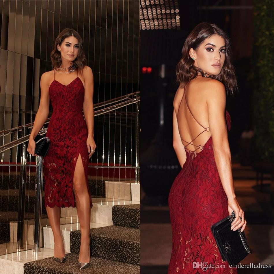 2018 Christmas Red Prom Dresses Sexy Spaghetti Straps Sheath Split Side HIgh Criss Cross Backless Cocktail Gowns For Party Evening Wear
