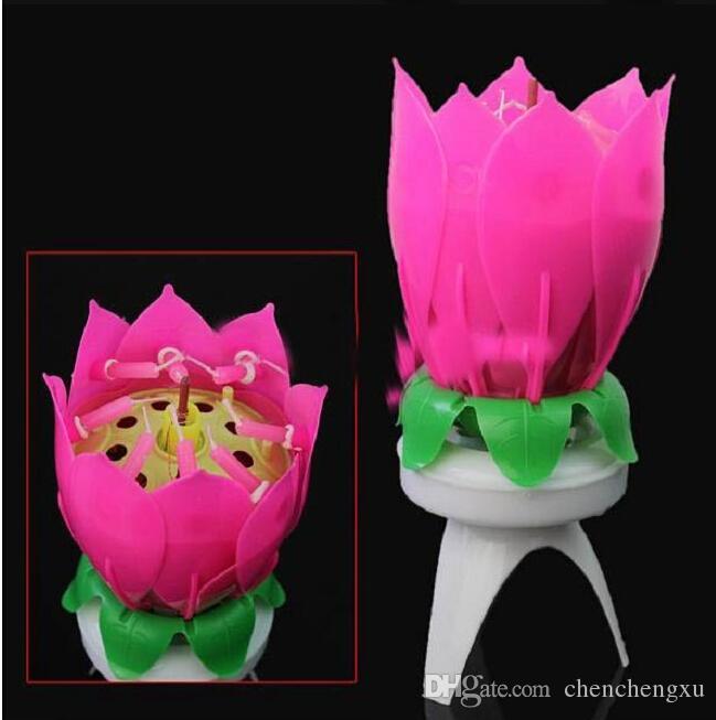 2015 Güzel Çiçeği Lotus Çiçeği Mum Doğum Günü Partisi Kek Müzik Sparkle Kek Topper Mum
