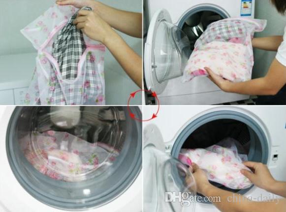 Bateau libre Petit 30 * 40 cm Fleur Imprimé Soutien-Gorge Vêtements Sac à linge Machine à laver Nylon Net Mesh Bonneterie Lingerie Zipper