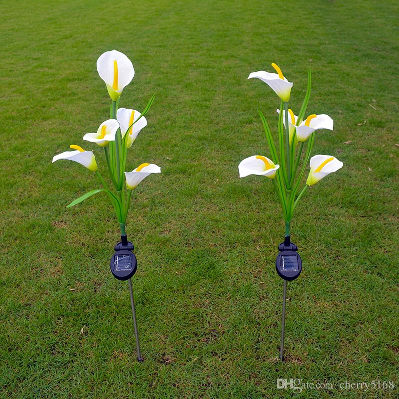 2017 calla lilies solar lights outdoor garden solar lawn for Outdoor decorative lights