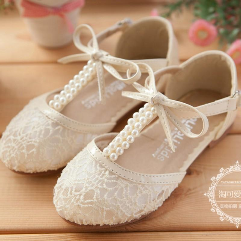 Cute Wedding Girls Shoes Lace Pearl Bow Hollow Lace Up