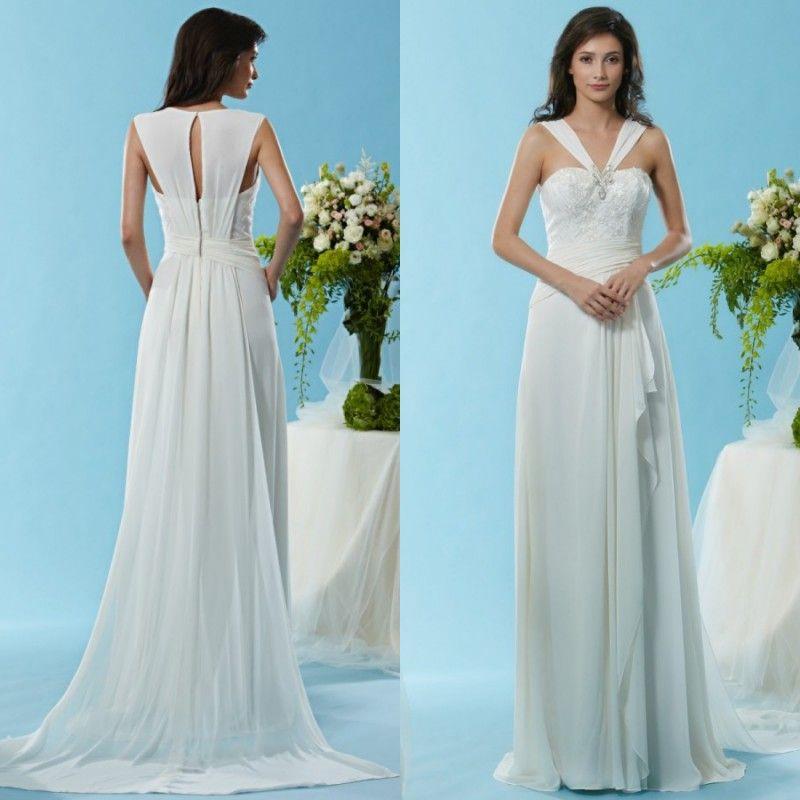 2015 Wedding Dresses Greek Unique Neckline Sleeveless Lace Beads ...