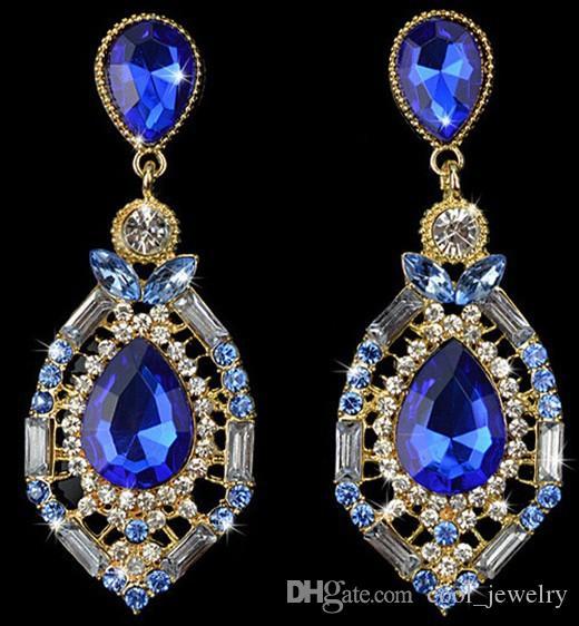 Luxus Kristall Waterdrop Bunte Tropfen Ohrringe Für Frauen 2016 Trendy Neue Design Ohrringe High-end kostenloser versand