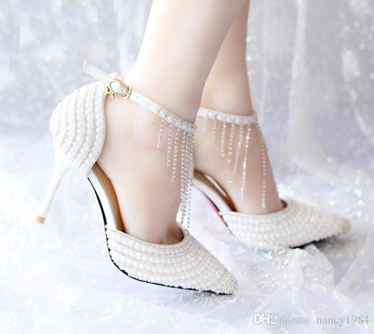 Summer White Pearl Wedding Shoes Tassel Ankle Strap Rhinestone Evening Party Shoes Pointed Toe Bridal Dress Shoes Prom Pump