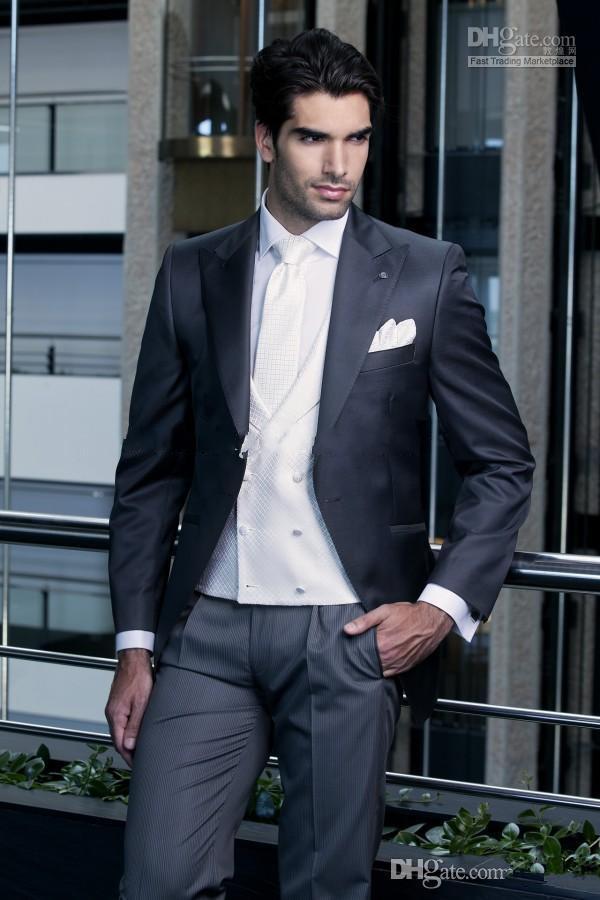 잘 생긴 남자 정장 패션 잘 생긴 흑인 남자 드레스 원 버튼 총 칼라 웨딩 복장 고전 신랑 턱시도 자켓 + 바지 + 조끼