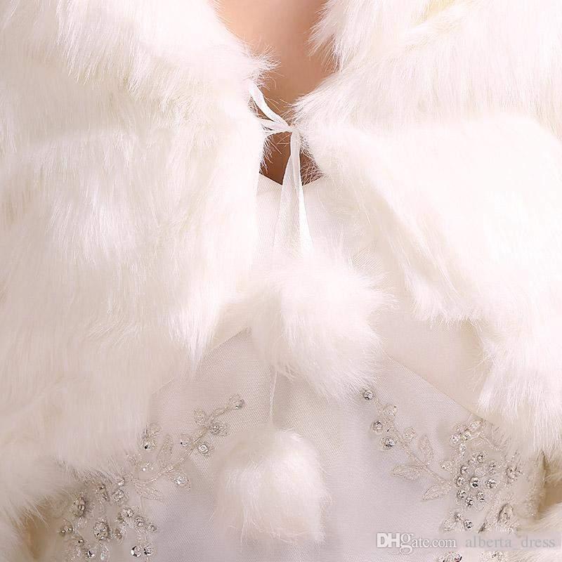 2015 prezzo all'ingrosso stile invernale formato medio abito da sposa involucro da sposa / giacca / scialle / mantello / rubato / bolero / cappotto bianco manica lunga pelliccia fuax