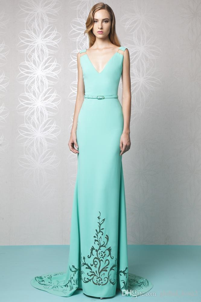 Tony Ward 2016 Mint Green Evening Dress Long Sheath Aqua V ...