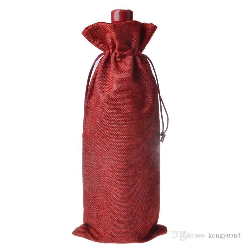 16*36cm Linen Wine Bottle Gift Bags burgundy Christmas wine Decorations folding bags Festive supplies