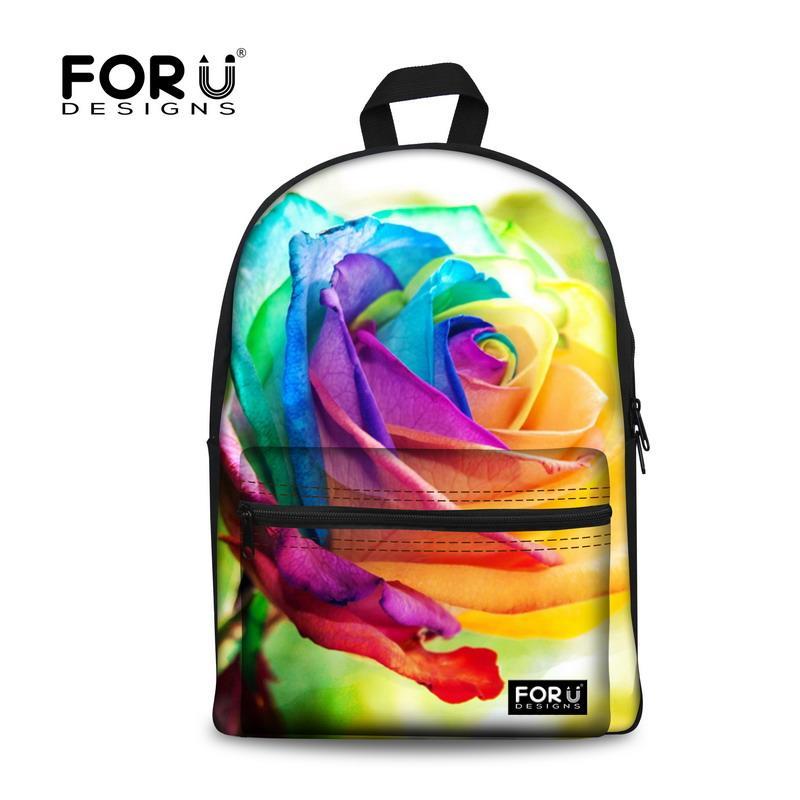 Forudesigns 3d Flower Print Kids School Bags for Girls Teenage ... 9b90251df3c7e