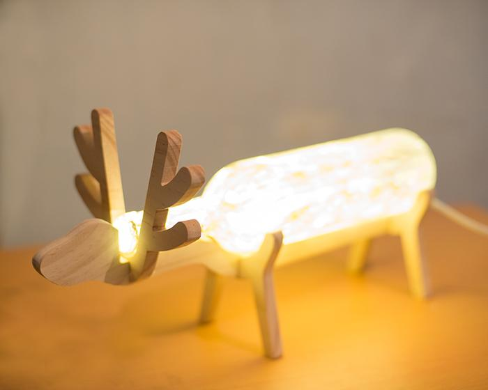 The Fawn Night Light Wooden Desk Lamp Glass Nordic