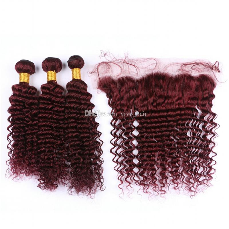 Indian Deep Wave Hair 99J 3 Bundles with Lace Frontal Closure Wine Red Burgundy Curly Human Hair Weaves with Lace Frontal