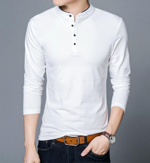 Tee-shirts Homme Printemps Automne T-shirt Coton Homme Couleur Unie Tshirt Col Mandarin Manches Longues Top Tees