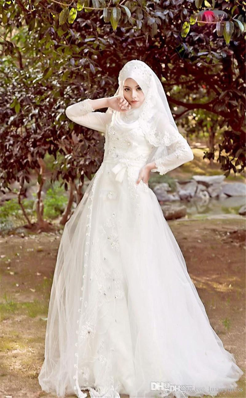 2015 Muslim Terbaru Wedding Dresses Hijab Veil Sparkly Beads Crystals Tulle Lace Bridal Gowns Long Sleeves