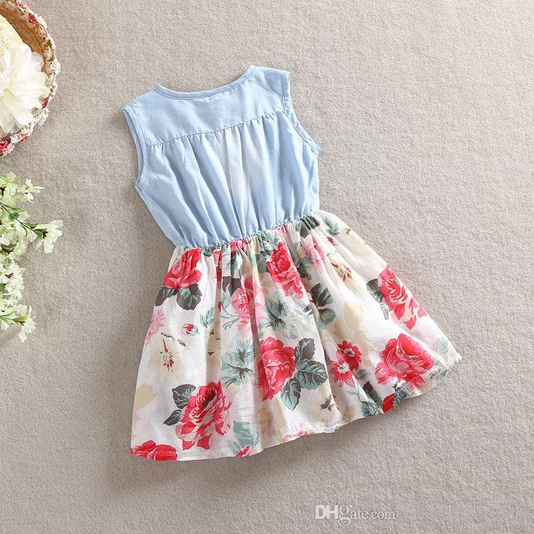 42cc125e051b0 New Summer Baby Girls Dresses Children Denim Floral Sleeveless Dresses with  Bow Kids Clothes Children Clothing