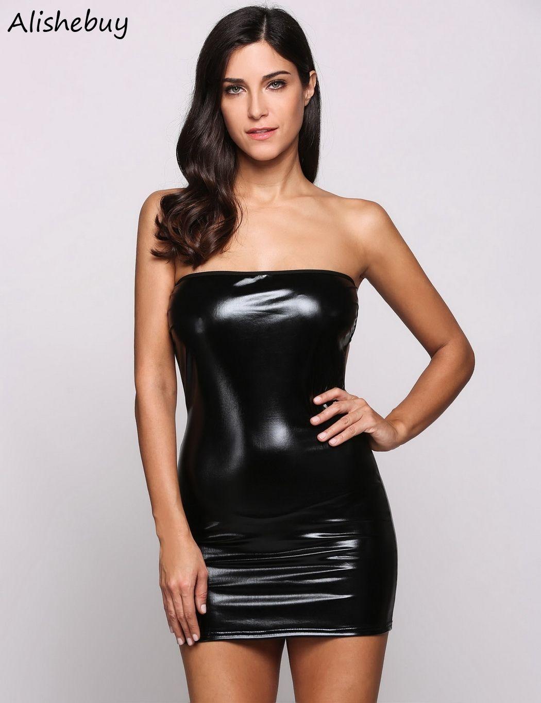 Großhandel Ärmelloses Leder Kleid Frauen Club Bandeau Bodycon ...