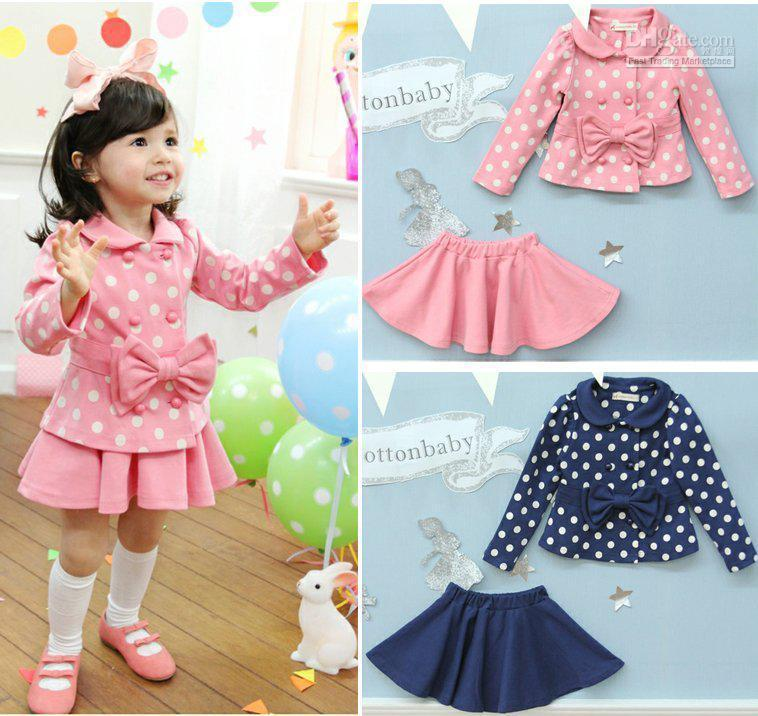 1bbba115d 2019 Kids Dotted Dress And Winter Coat Girls Pink Skirt Kids Sets Of ...