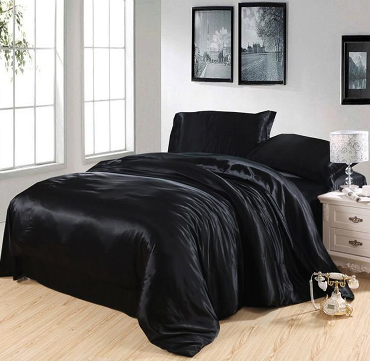 Black Silk Bedding Set Satin California King Size Queen Full Twin Double Quilt Duvet Cover Fitted Bed Sheets Bedsheet Doona Comforters Sets King Bedding