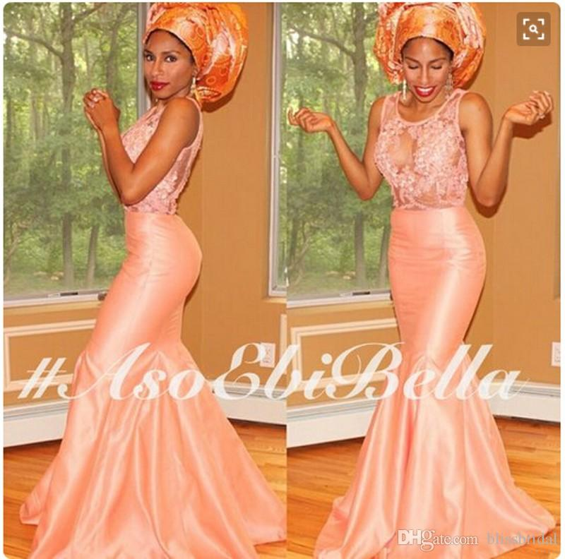 Throug 레이스 아플리케를보세요 인어 공단 댄스 파티 드레스 Light Coral Prom 가운 사용자 정의 만든 2016 새로운 아소 Ebi 파티 가운