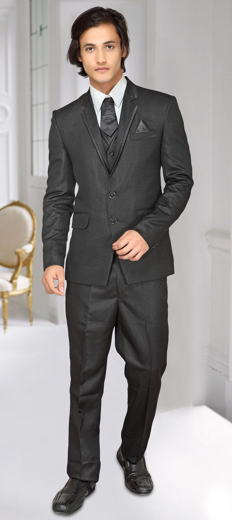 Fashion Notched Lapel Tuxedos Men Suits Dark Grey Wedding Suits ...