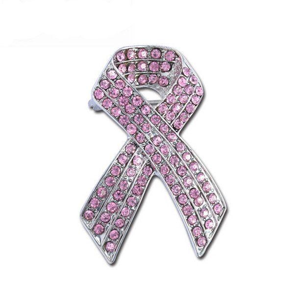 2 بوصة روديوم الفضة لهجة سرطان الثدي التوعية الشريط دبوس بروش مع الوردي حجر الراين بلورات