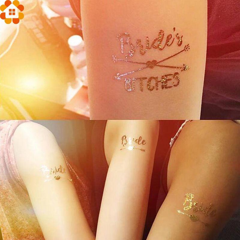 Творческий золото невесты временные татуировки пользу девичник невесты Свадебный душ свадебные украшения наклейки