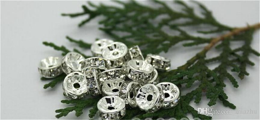 8mm 10mm DIY Crystal Bead Spacer Metal Posrebrzane Rhinestone Charms Kołnierze Koraliki do podejmowania biżuterii, 2 Rozmiar Wybierz