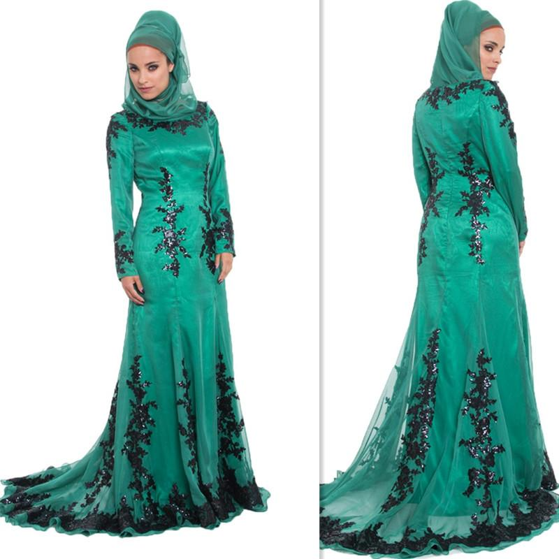 Arab Islamic Muslim Prom Dresses Hijab Spring Long Sleeves Evening