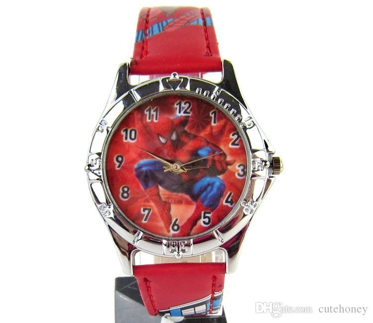 Baby spiderman watches with boxes kids cartoon wristwatches children cute baymax wrist watch for Spiderman watches