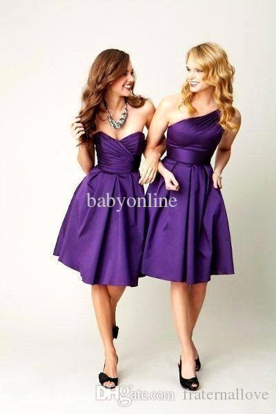 97c2bf62ea9 2016 Royal Purple One Shoulder Sexy Sweetheart Satin Pleated Mini Short  Knee Length Ruffles Bridesmaid Dresses Cheap Cocktail Dresses Convertible  Bridesmaid ...